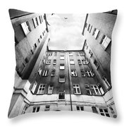Courtyard In Black And White Throw Pillow