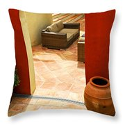 Courtyard Of A Villa Throw Pillow