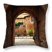 Courtyard Of Cathedral Of Ste-cecile In Albi France Throw Pillow