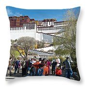 Courtyard Of Potala Palace In Lhasa-tibet Throw Pillow