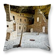 Courtyard Of Spruce Tree House On Chapin Mesa In Mesa Verde National Park-colorado  Throw Pillow