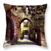 Courtyard Shadows Throw Pillow