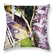 Courtyard With Cherry Blossoms Throw Pillow