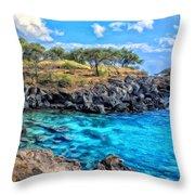Cove At Mahukona Throw Pillow