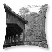 Covered Bridge Black And White Throw Pillow