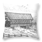 Covered Bridge Coventry Vermont Throw Pillow