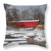 covered bridge Everett rd. Throw Pillow by Daniel Behm