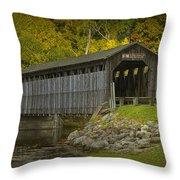 Covered Bridge In Fall Throw Pillow