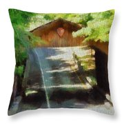 Covered Bridge In Sleeping Bear Dunes National Lakeshore Throw Pillow