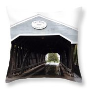 Covered Bridge North Conway Sacco River Throw Pillow