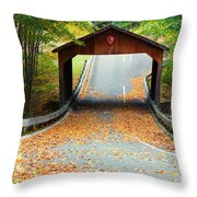 Covered Bridge On Pierce Stocking Scenic Drive Within Sleeping B Throw Pillow