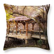 Covered Bridge On The River Walk Throw Pillow
