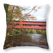 Covered Bridge Over Swift River Throw Pillow