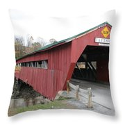 Covered Bridge Taftsville Throw Pillow
