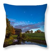 Covered Bridge Under A Vermont Sky Throw Pillow