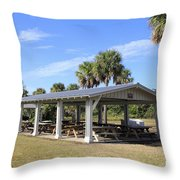 Covered Picnic Tables Throw Pillow