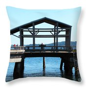 Covered Pier At Port Townsend Throw Pillow