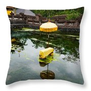 Covered Stones With Umbrella In Ritual Throw Pillow