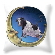 Cow And Moon Throw Pillow