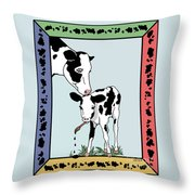 Cow Artist Cow Art Throw Pillow