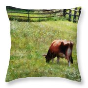 Cow Grazing In Pasture Throw Pillow