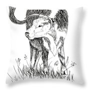 Cow In Pen And Ink Throw Pillow