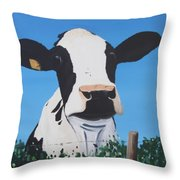 Cow On A Ditch Throw Pillow