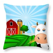 Cow On Green Pasture With Red Barn With Grain Silo  Throw Pillow