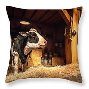 Cow On The Farm Throw Pillow