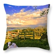 Cow Out To Pasture In Costa Rica Throw Pillow
