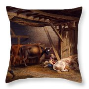 Cow Shed Throw Pillow by Robert Hills