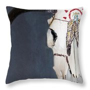 Cow Skull In Blue Throw Pillow