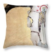 Cow Skull In Yellow Throw Pillow