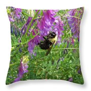 Cow Vetch Wildflowers And Bumble Bee Throw Pillow