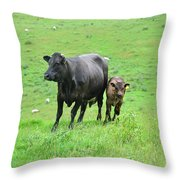 Cow With Calf On Thorpe Hillside Throw Pillow