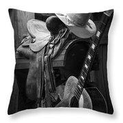 Cowboy Acoustic Guitar Throw Pillow