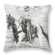 Cowboy And Horse No Fences Throw Pillow