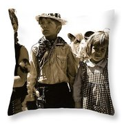 Cowboy And Indian Armory Park Tucson Arizona Black And White Toned Throw Pillow