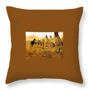 Cowboy Bargaining For The Indian Girl Throw Pillow by Charles Russell