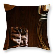 Cowboy Boots At The Ranch Throw Pillow by Olivier Le Queinec
