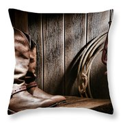 Cowboy Boots In Old Barn Throw Pillow by Olivier Le Queinec