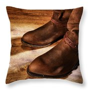 Cowboy Boots On Saloon Floor Throw Pillow by Olivier Le Queinec