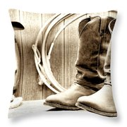 Cowboy Boots Outside Saloon Throw Pillow by Olivier Le Queinec