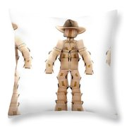 Cowboy Box Characters On White Throw Pillow