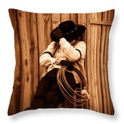 Cowboy Break Throw Pillow
