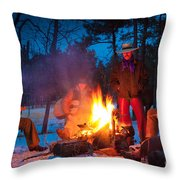 Cowboy Campfire Throw Pillow by Inge Johnsson