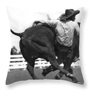Cowboy Falling  From Bull Throw Pillow