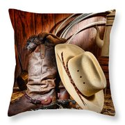 Cowboy Gear Throw Pillow by Olivier Le Queinec