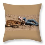 Cowboy Has Steer By Horn Throw Pillow