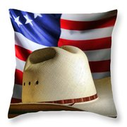 Cowboy Hat And American Flag Throw Pillow